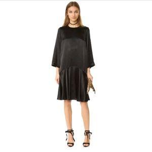 Ganni Sanders Satin Dress, Black Size 34
